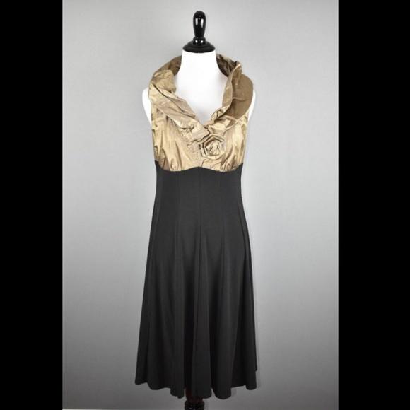 7831d60ecf28 Joseph Ribkoff Dresses & Skirts - Joseph Ribkoff Gold Rosette Black Shift  Dress